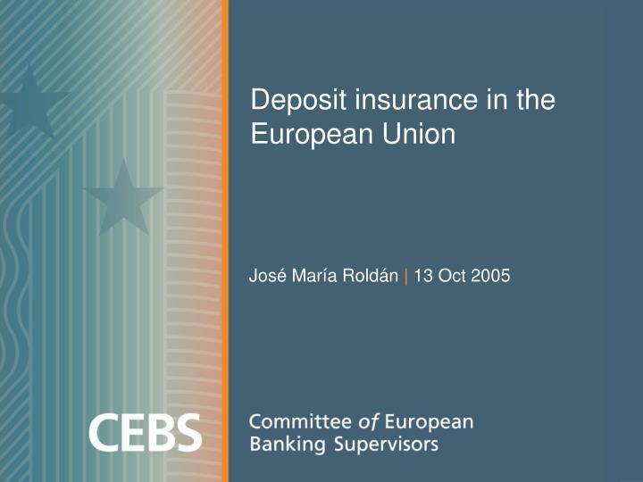 deposit insurance in the european union n.