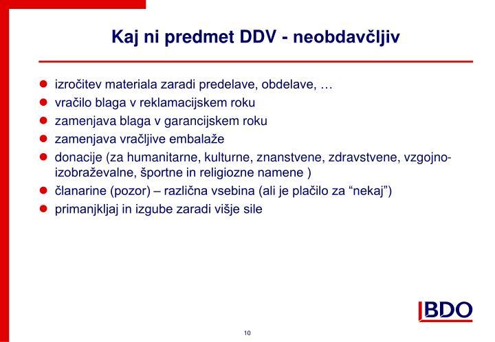 Kaj ni predmet DDV - neobdavčljiv