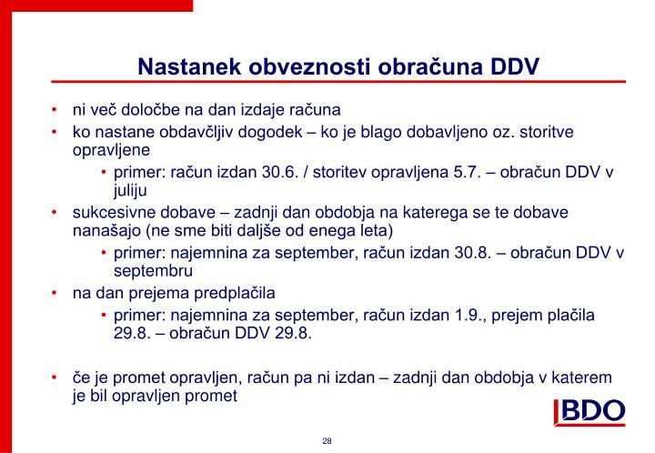 Nastanek obveznosti obračuna DDV