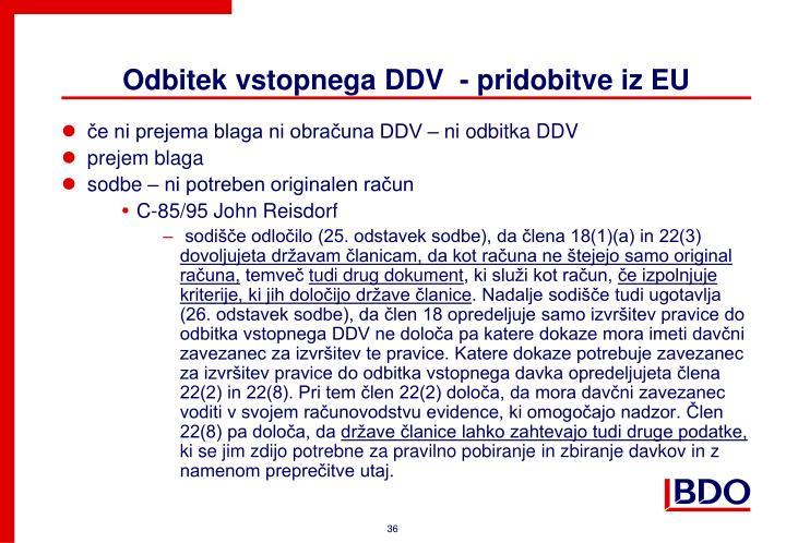 Odbitek vstopnega DDV  - pridobitve iz EU
