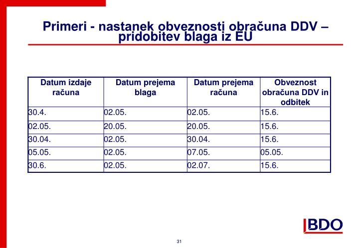 Primeri - nastanek obveznosti obračuna DDV – pridobitev blaga iz EU