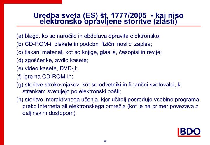 Uredba sveta (ES) št. 1777/2005  - k