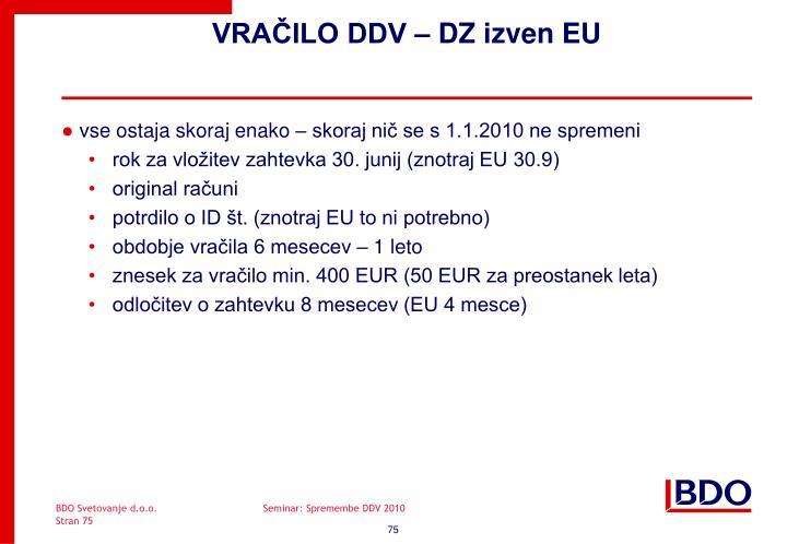 VRAČILO DDV – DZ izven EU