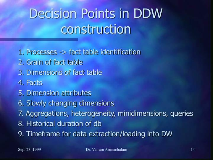 Decision Points in DDW construction