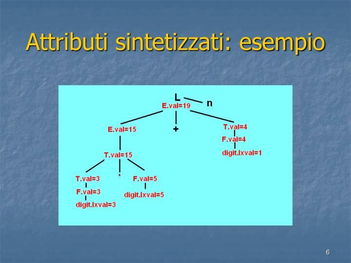 Attributi sintetizzati: esempio