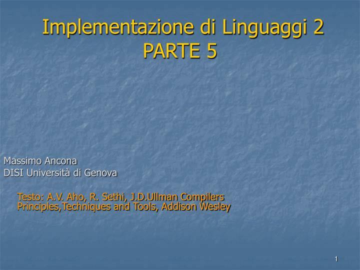 Implementazione di linguaggi 2 parte 5