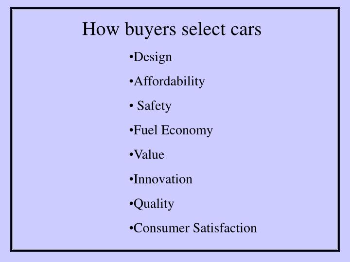 How buyers select cars