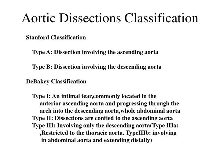 Aortic Dissections Classification
