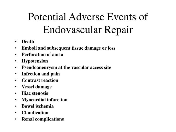 Potential Adverse Events of Endovascular Repair