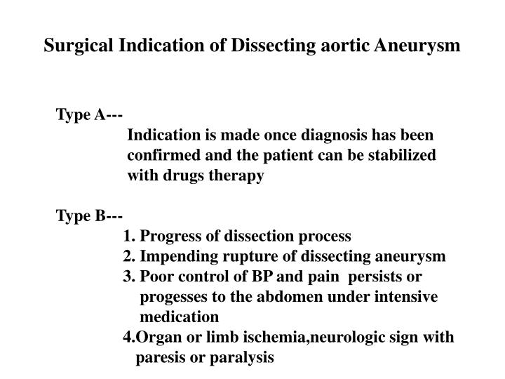 Surgical Indication of Dissecting aortic Aneurysm