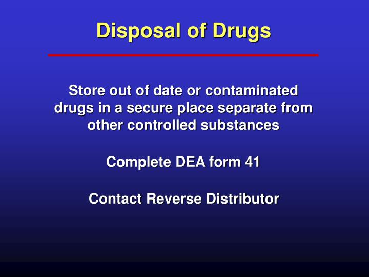 Disposal of Drugs