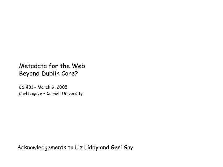 metadata for the web beyond dublin core n.