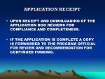 application receipt