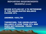 reporting requirements example cont
