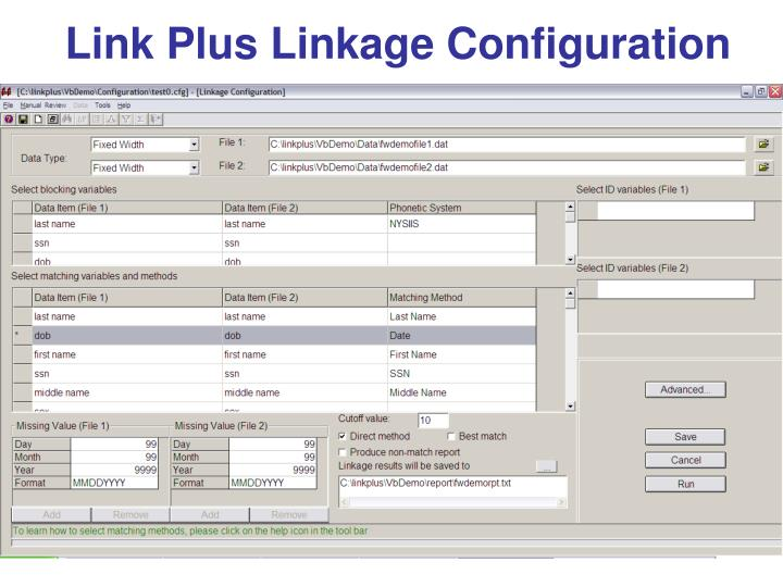 Link Plus Linkage Configuration