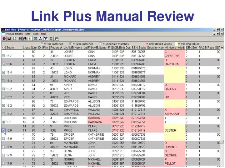 Link Plus Manual Review