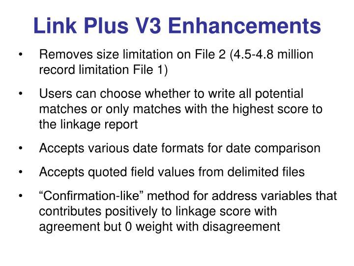 Link plus v3 enhancements