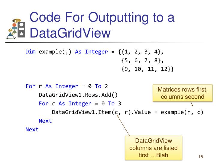 Code For Outputting to a DataGridView