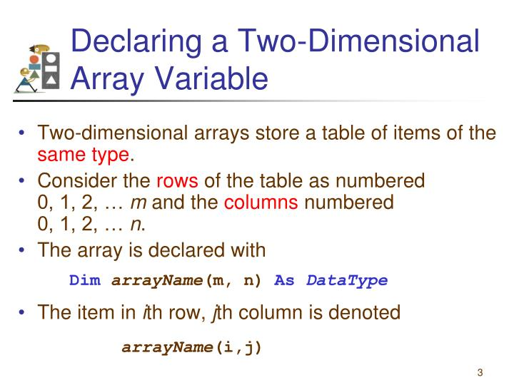Declaring a two dimensional array variable