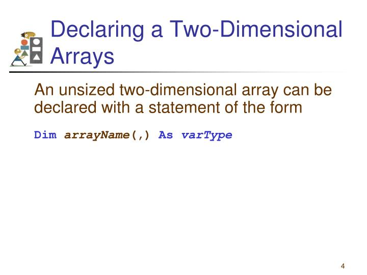 Declaring a Two-Dimensional Arrays