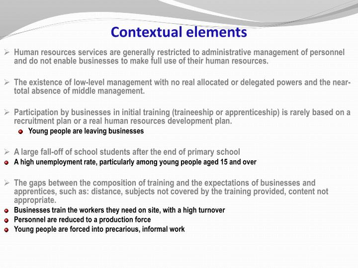Contextual elements