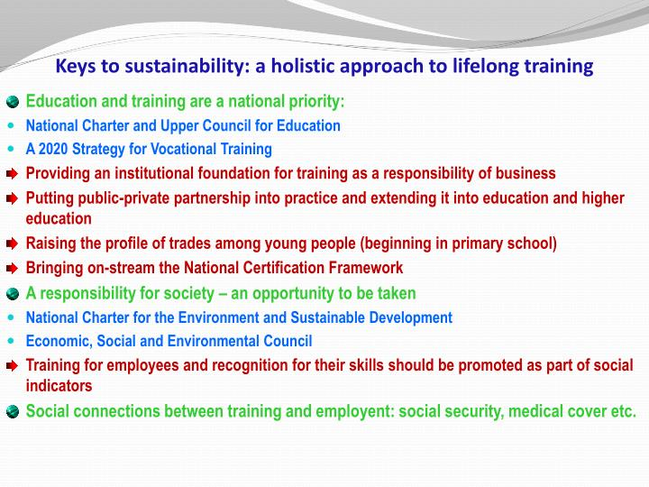 Keys to sustainability: a holistic approach to lifelong training