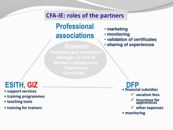CFA-IE:  rôles des partenaires
