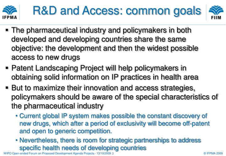 R&D and Access: common goals