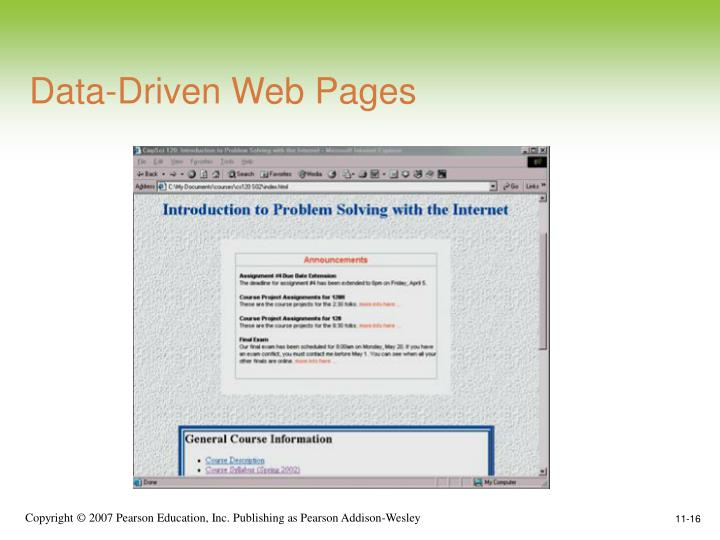 Data-Driven Web Pages