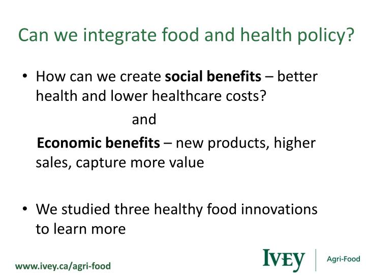 Can we integrate food and health policy?