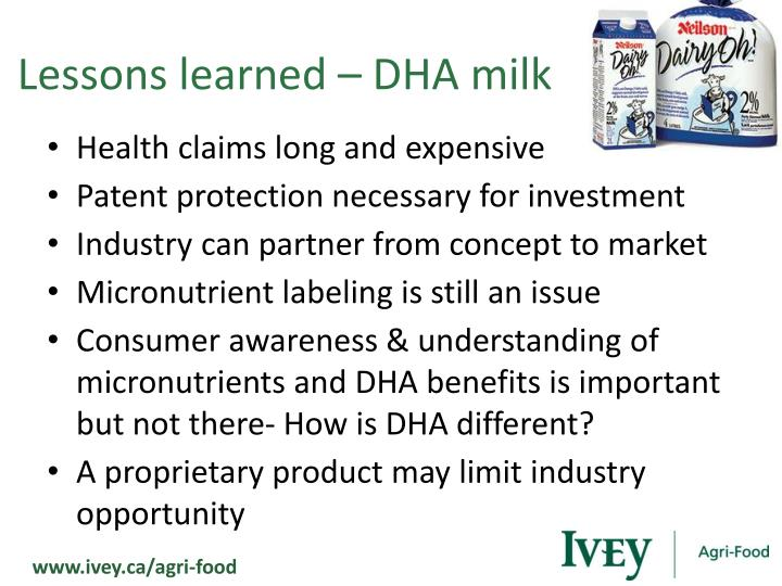Lessons learned – DHA milk
