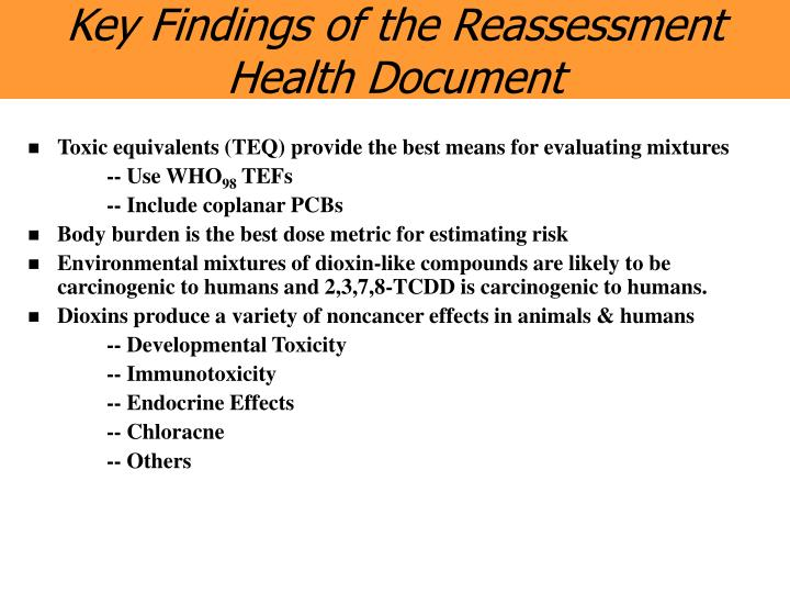Key Findings of the Reassessment Health Document