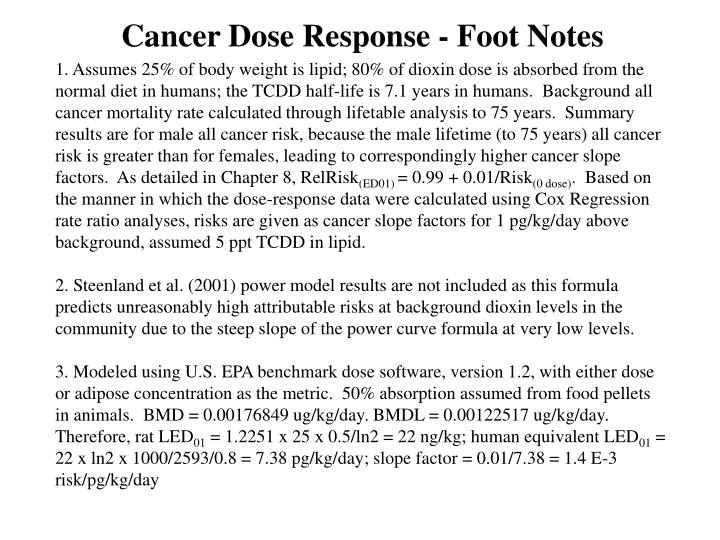 Cancer Dose Response - Foot Notes