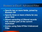 features in excel advanced filter