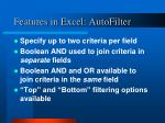 features in excel autofilter