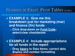 features in excel pivot tables cont4
