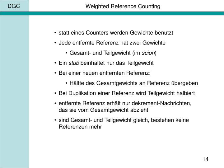 Weighted Reference Counting