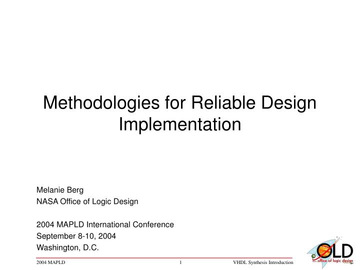 methodologies for reliable design implementation n.