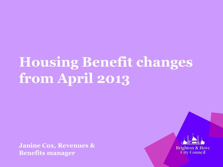 housing benefit changes from april 2013 n.