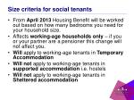 size criteria for social tenants