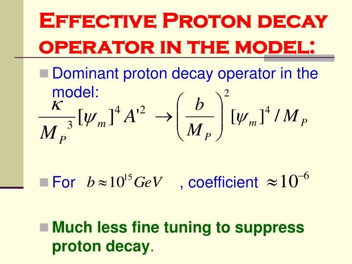 Effective Proton decay operator in the model: