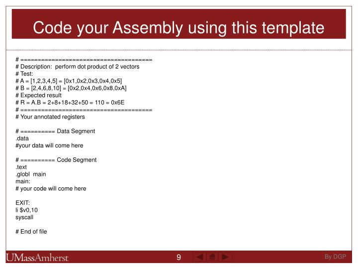Code your Assembly using this template