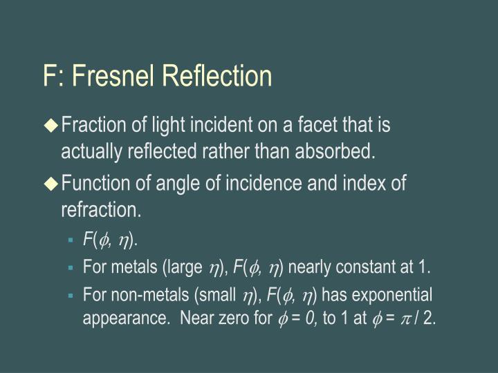 F: Fresnel Reflection