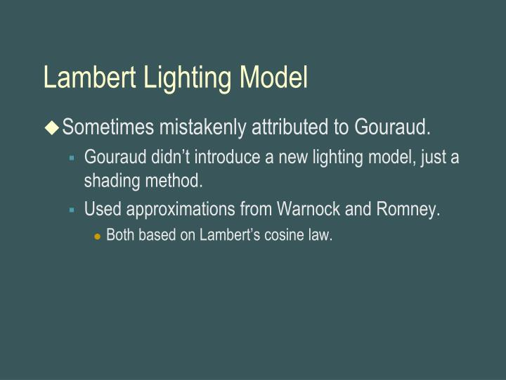 Lambert Lighting Model