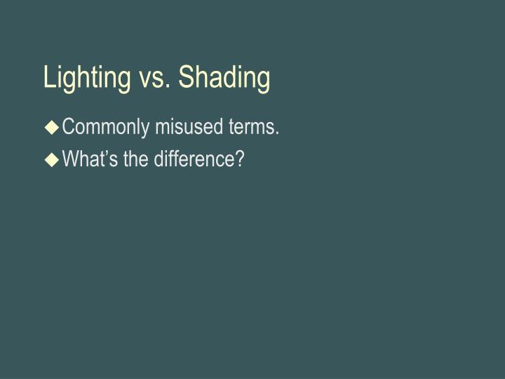 Lighting vs. Shading