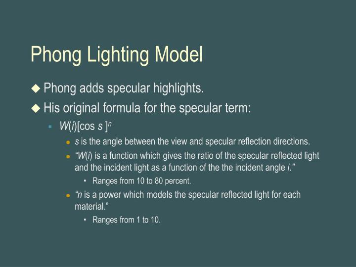 Phong Lighting Model