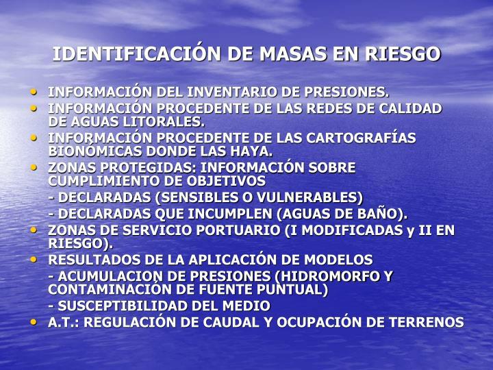IDENTIFICACIÓN DE MASAS EN RIESGO