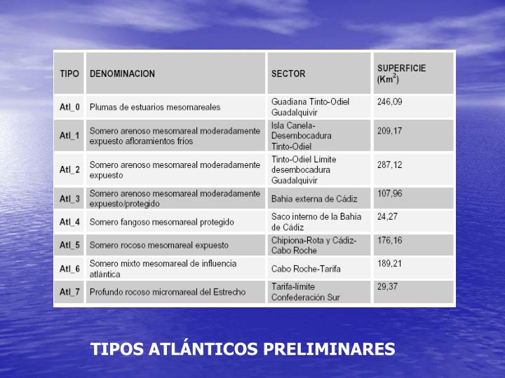 TIPOS ATLÁNTICOS PRELIMINARES