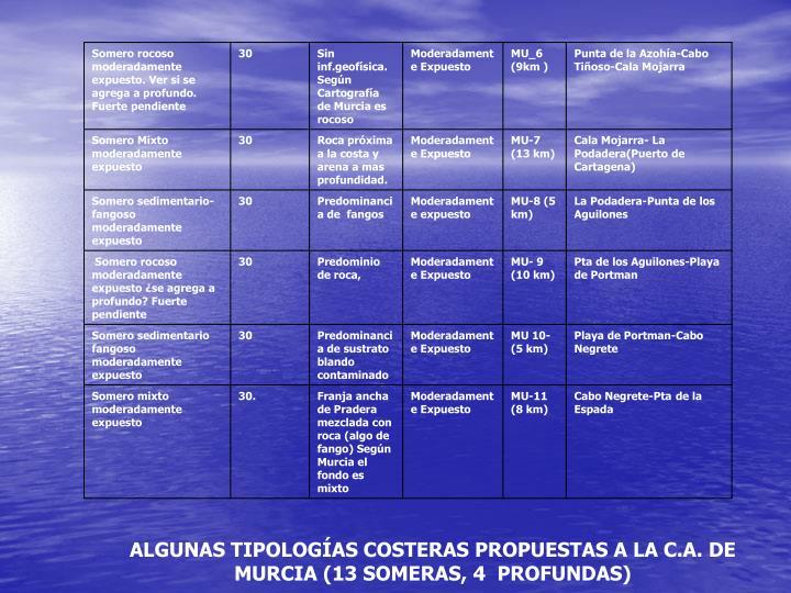 ALGUNAS TIPOLOGÍAS COSTERAS PROPUESTAS A LA C.A. DE MURCIA (13 SOMERAS, 4  PROFUNDAS)