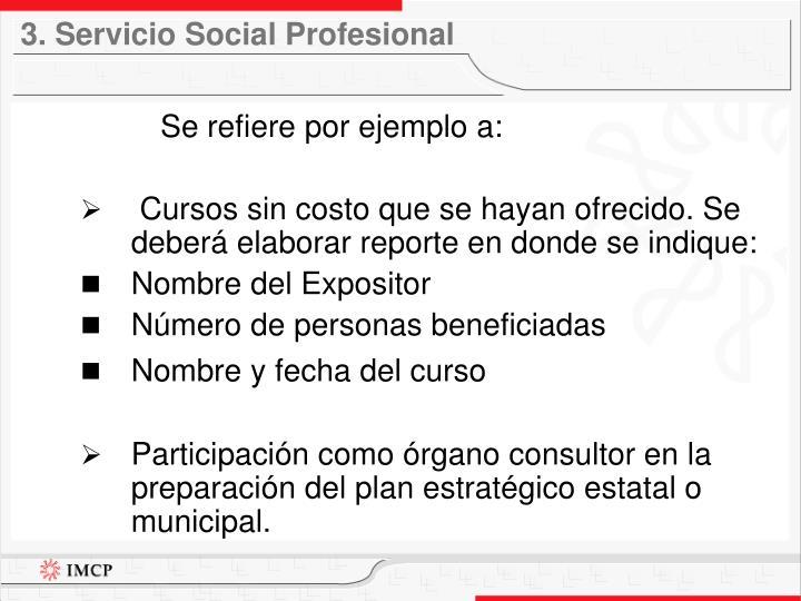 3. Servicio Social Profesional